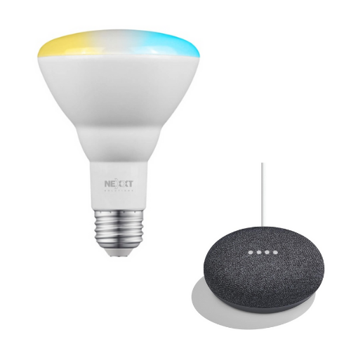 Combo Bombillo Inteligente Nexxt Solutions Connectivity BR30 NHB-C210 + Parlante Google Home Mini