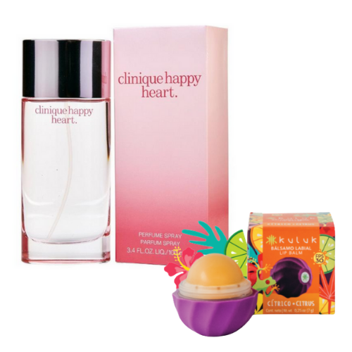 [INN05409] Combo Perfume Clinique Happy Heart 100 ml Dama + Bálsamo Labial Kuluk Cítrico 7 GR